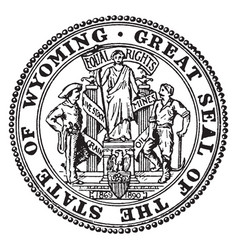 Great seal state wyoming vintage vector