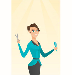 Hairdresser holding comb and scissors in hands vector
