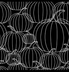 halloween background - white line pumpkin on vector image