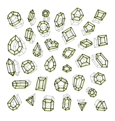 Hand drawn gemstones abstraction vector