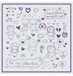 Hand drawn romantic set vector image