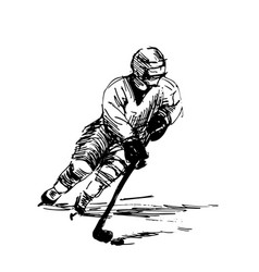 Hand sketch of a hockey player vector