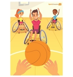 Handisport Boys and girls in wheelchairs playing vector