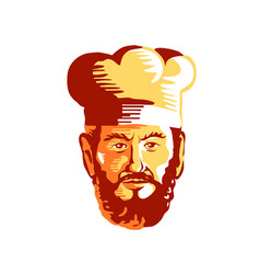 hipster cook chef beard retro vector image