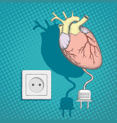 Human heart with an electric plug and socket vector