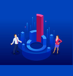 Isometric business sales growth audit management vector