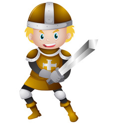 knight in golden armour with sword vector image