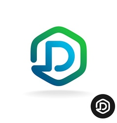 Letter D in a hex shape one line style logo vector