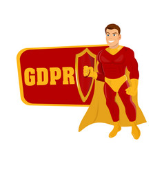male superhero with shield and inscription gdpr vector image