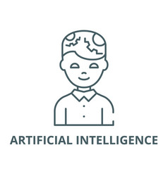 man with artificial intelligence line icon vector image