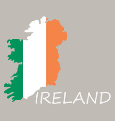 Map of ireland with flag hand painted with brush vector