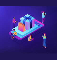 mobile store app isometric 3d concept vector image