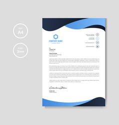 modern blue wavy letterhead background vector image