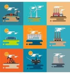 Modern industrial flat buildings set vector image