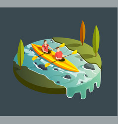 mountain kayaking isometric composition vector image