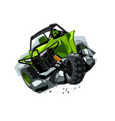 Off-road atv buggy rides through obstacles stones vector