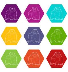 Orangutan icons set 9 vector