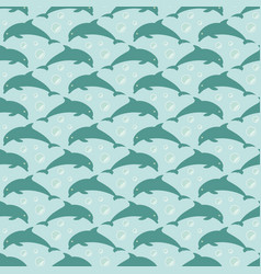 Pattern with jumping dolphins vector