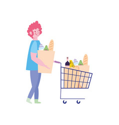 People hoarding purchase man with shopping cart vector