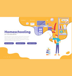 people studying at online school home interior vector image