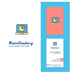 Pie chart on laptop creative logo and business vector