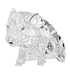piggy coloring book for adults piggy coloring vector image