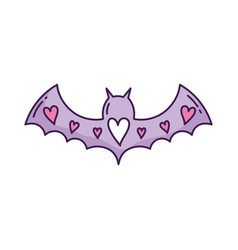 purple bat open wings with hearts love vector image