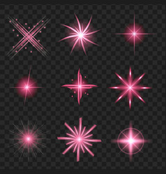 purple shine stars with glitters sparkles icons vector image