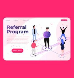 Referral program landing page concept with vector