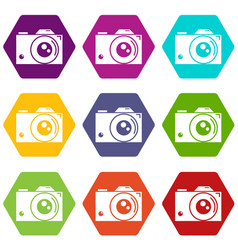 retro camera icons set 9 vector image