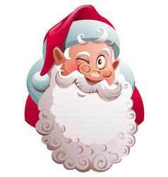 Santa claus head winks merry christmas fun vector