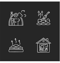 sauna types chalk white icons set on black vector image