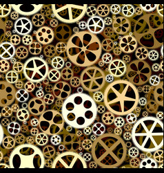 seamless background of bronze gears wheels vector image