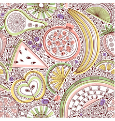 Seamless pattern with nutrient-rich raw fruits in vector