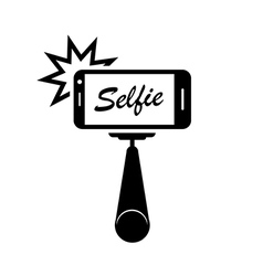 Selfie stick with mobile phone vector image
