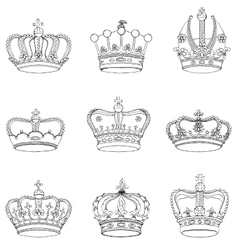 Set 9 detailed crowns vector