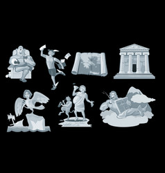 Set ancient greek god in the present world vector