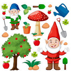 Set gnome and garden icon in cartoon style on vector
