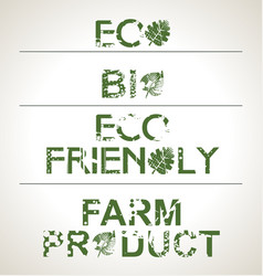 set organic and farm fresh food stampsbadges vector image