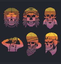 skull collection retro vector image