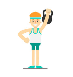 Sporty boy in sportswear lifting kettlebell vector