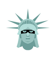 statue of liberty in mask landmark united states vector image