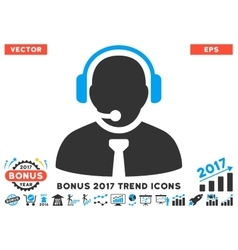 Support Manager Flat Icon With 2017 Bonus Trend vector