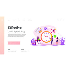 Time management landing page template vector