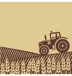 tractor in field vector image