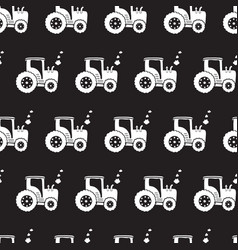 tractors white on black seamless pattern vector image
