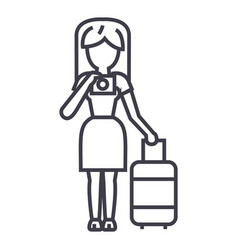 Travel woman making photo line icon sign vector