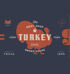 turkey template label vintage retro print vector image