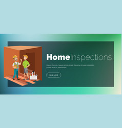 Two men examining room in house poster vector