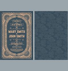 vintage wedding invitation layout vector image